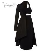 Young17 Vintage Dress Women Long Sleeve Black Hollow Asymmetrical Elegant Beauty Fashion Female 2017 New Autumn