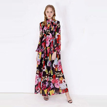 High quality 60% silk vintage dress brand new design long sleeves chiffon dress summer runways elegant maxi dress A251
