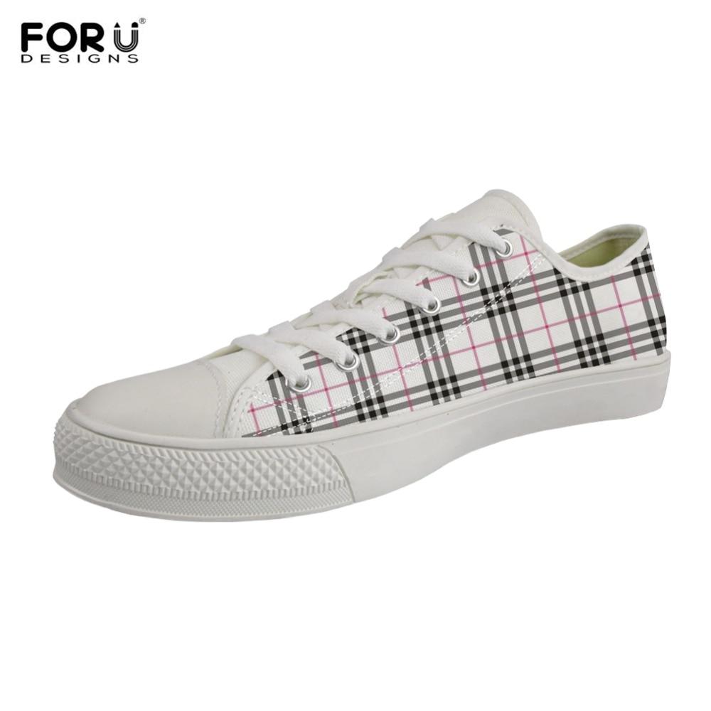 FORUDESIGNS Plaid rayure Design élégant femmes chaussures plates à lacets respirant filles garçons facile Match toile chaussures étudiant baskets