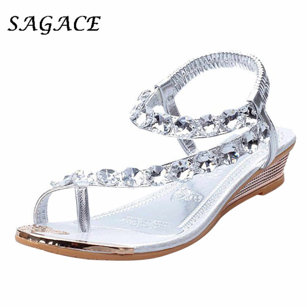 SAGACE Schoenen Vrouwen sandalen wig Strass schoenen rubber strand sandalen 2019 zomer dames sandalen met hakken vrouwen casual schoenen