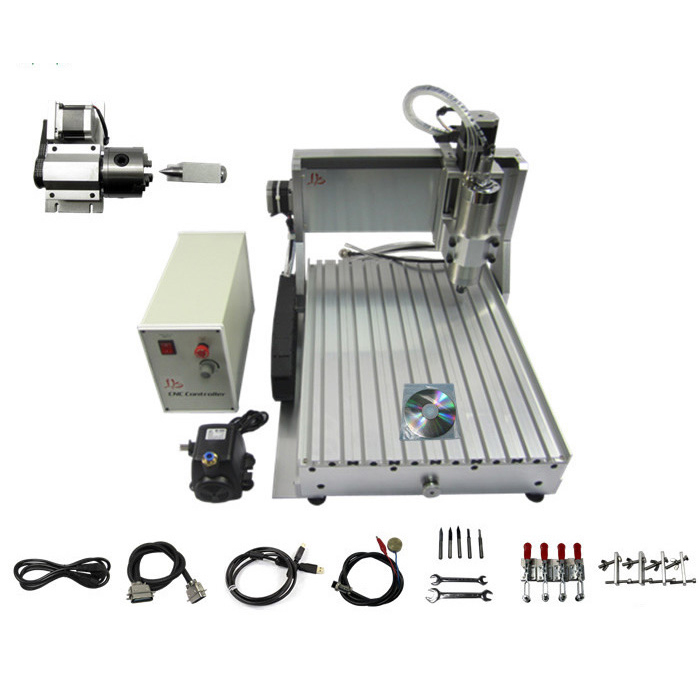 4axis 3040 cnc milling machine 1500W water cooling spindle Ball screw with water pump USB port