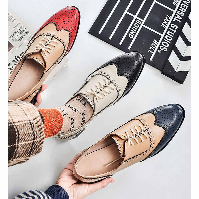 d420a9a987f ... XIUNINGYAN Genuine Leather Oxford Shoes Woman Flats Brogues Vintage  Handmade Lace Up Loafers Casual Sneaker Flat ...
