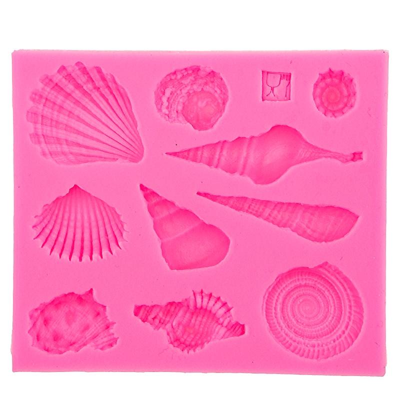 Concha vida marinha shell DIYque molde ferramentas de cozimento de silicone acessórios de cozinha decorações para bolos fondant molde F0542