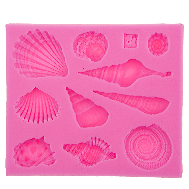 Vida marina concha cáscara DIY molde de silicona herramientas para hornear accesorios de cocina decoraciones para pasteles Fondant molde F0542