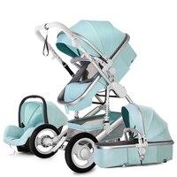 Детские коляски 3 в 1 с Автокресло для новорожденных высокого вида коляска складная детская коляска путешествия системы carrinho de bebe em 1