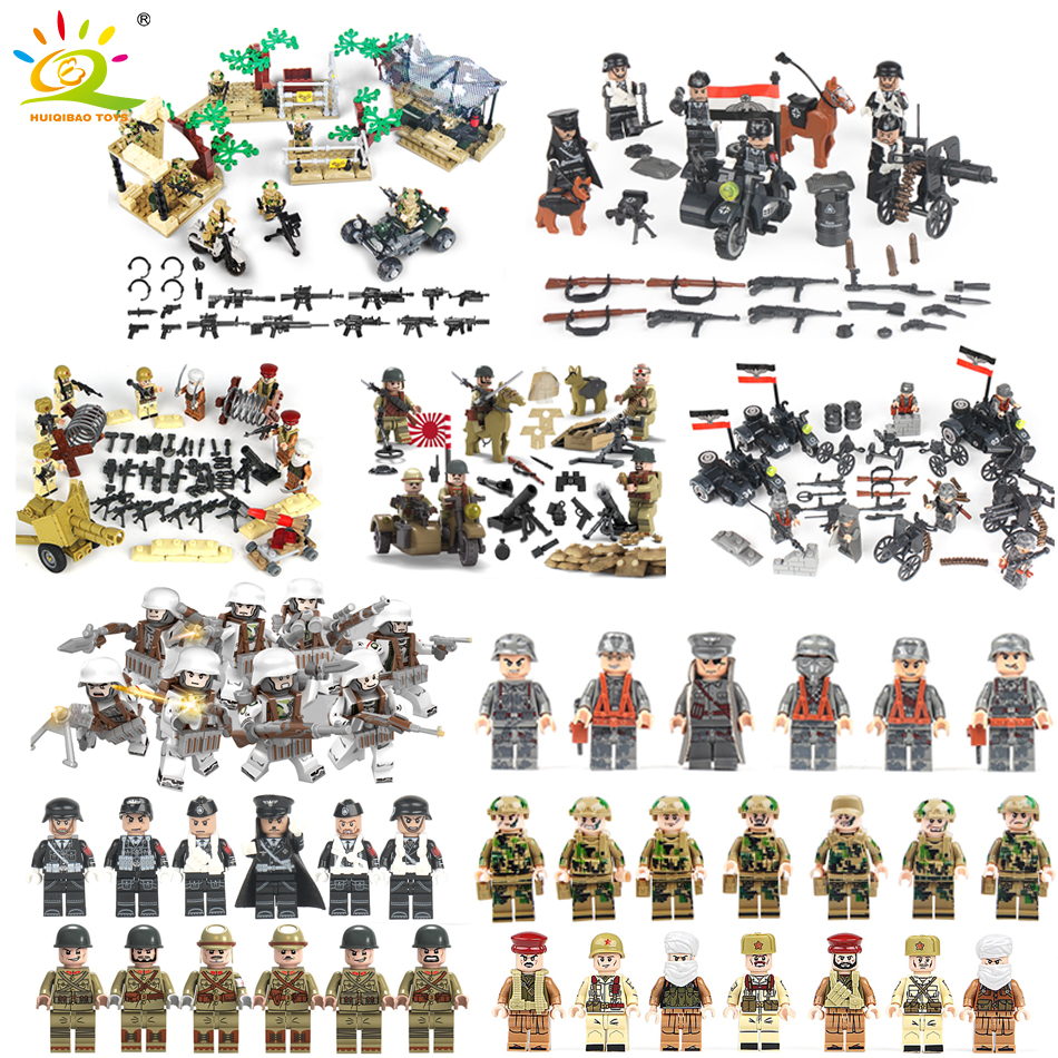 WW2 Military Swat Team Combat Army Ground Force Blocks Blocks Compatible Legoed City Germany Soldiers Weapon Minnie Figure Toys 8pcs city police swat team rescue hostages army soldiers guns weapons military world war ww2 mini army figure blocks toy gift