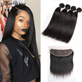 Brazilian Straight Hair With Closure 13X4 Lace Frontal Closure With 4 Bundles Virgin Straight Bundles With Frontal Bundle Deals