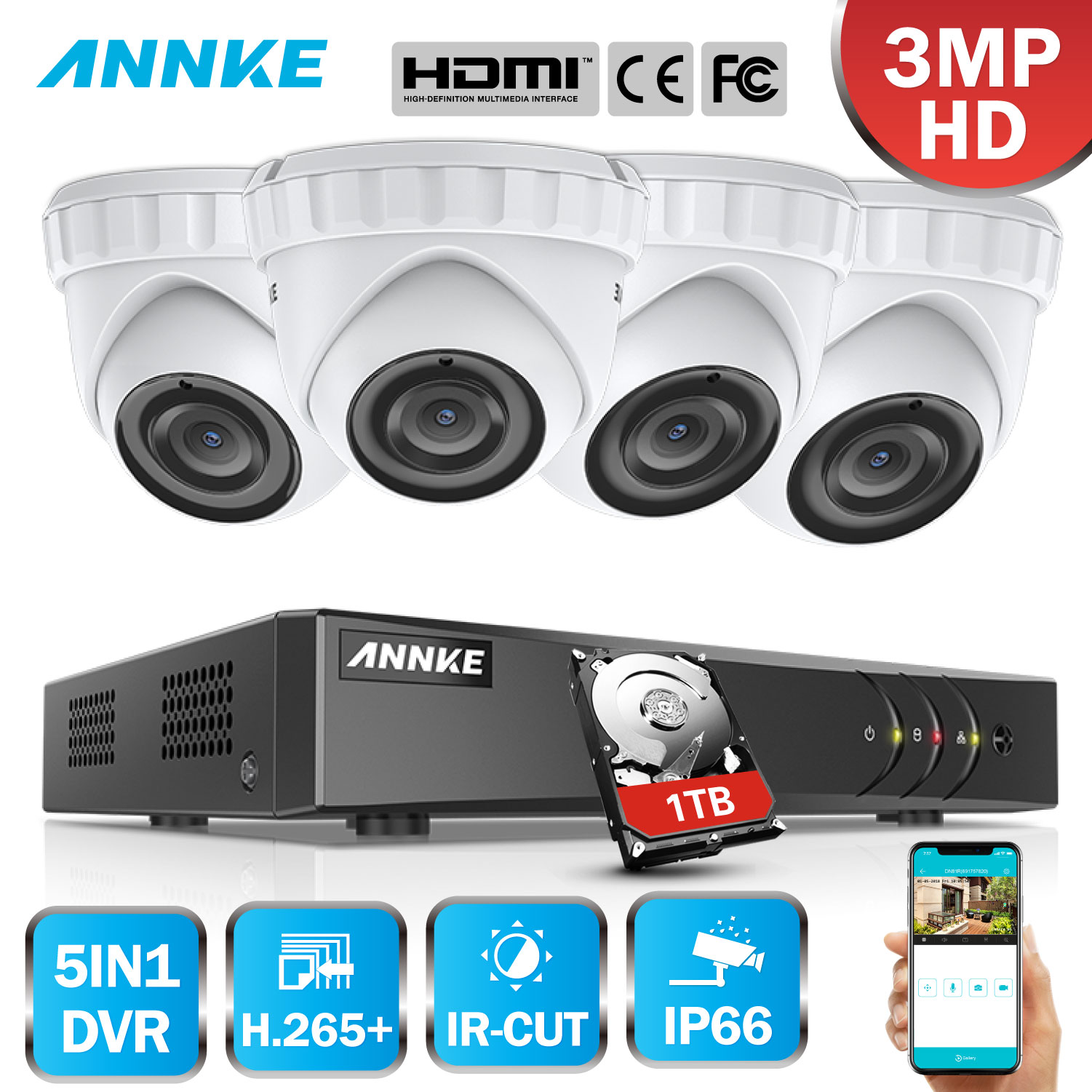 ANNKE 8CH 3MP 5in1 CCTV DVR HD 4PCS 3MP TVI Security Camera Outdoor Weatherproof Dome Camera