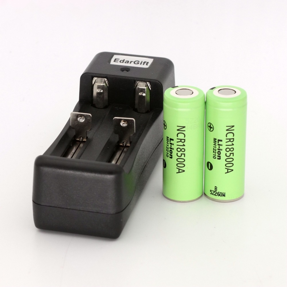 2PCS 18500 Battery New Original NCR18500A 2000mah Li-Ion Rechargeable For panasonic 3.6V With charger