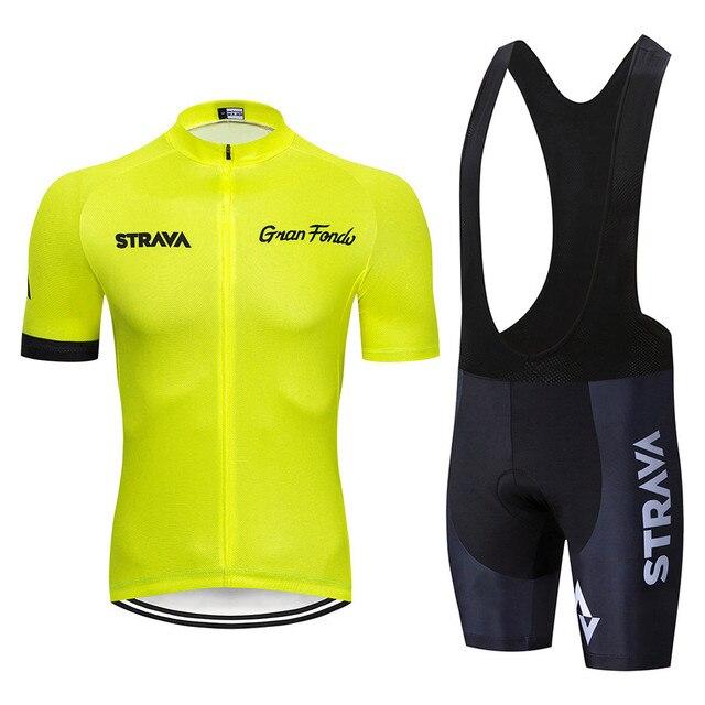 2019 STRAVA Bisiklet Giyim Bisiklet jersey Hızlı Kuru Erkekler bisikletçi giysisi yaz Bisiklet Jersey bisiklet şortları seti Floresan sarı