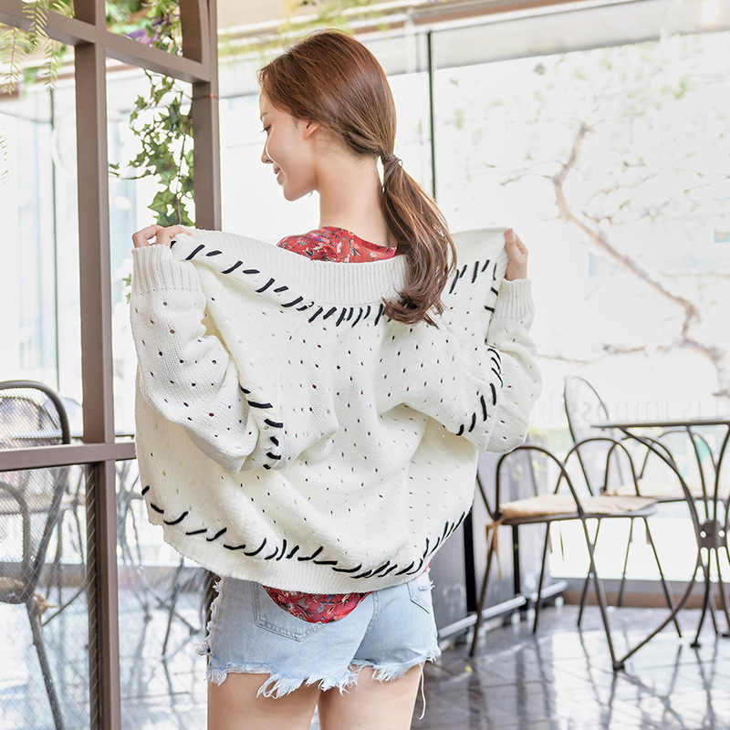 2018 Autumn Winter Women Retro White Sweaters Long Sleeve Black Ribbon Loose Open Stitch Hollow Out Cardigans Feme Knitwear Top