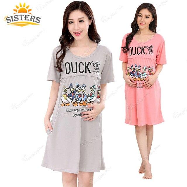 Breastfeeding Clothing Maternity Dress Cute Duck Pattern Breathable Cotton Loose Short Sleeve Pregnant Nursing  Women Pajamas