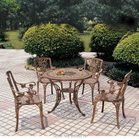5 piece cast aluminum patio furniture garden furniture Outdoor furniture rose design