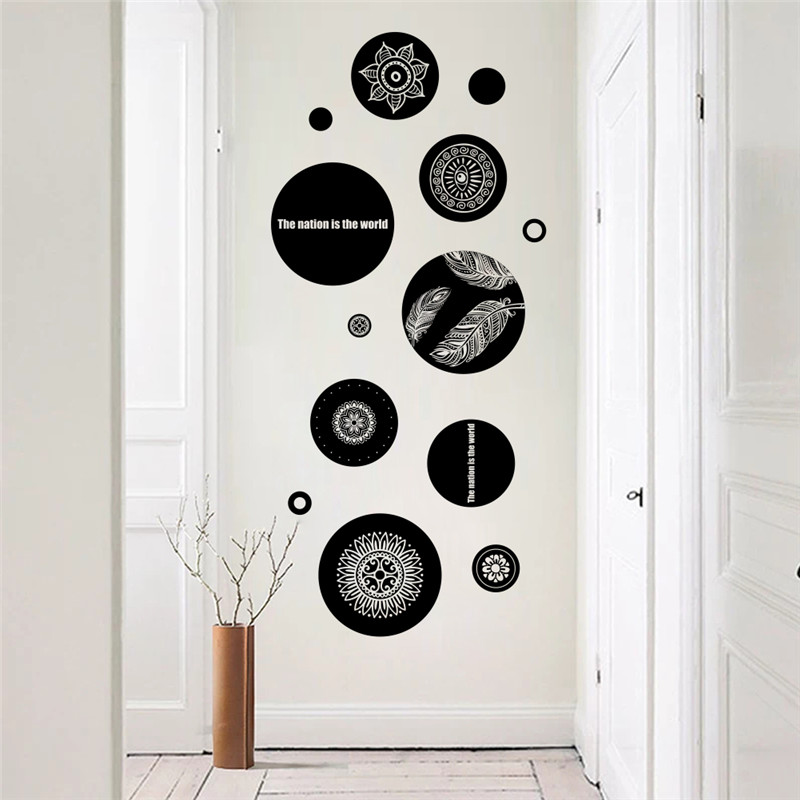 % black Circle office wall stickers living room bedroom home decoration nursery room decor poster wall decals poster mural