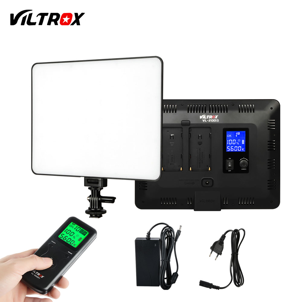 VILTROX VL-200B 12.4'' Wireless Remote Photo Dimmable Camera Video Studio LED Light Ultra Thin+DC Power Adapter for Canon Nikon