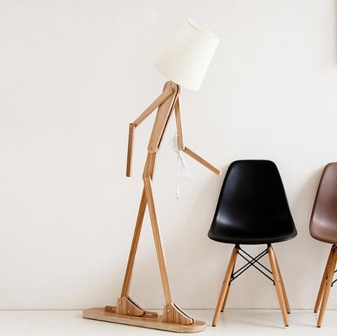 criativo diy lampadas de assoalho madeira nordic suporte tecido luz para sala estar quarto estudo