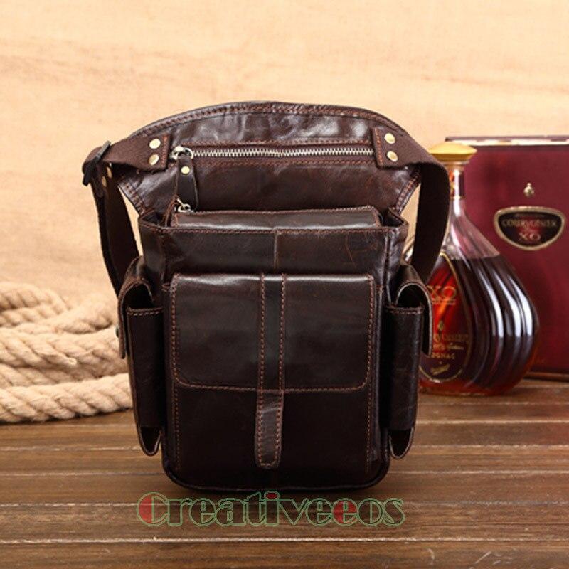купить Men's Cowhide Oil Wax Genuine Leather Drop Leg Bag Travel Motorcycle Messenger Shoulder Hip Belt Fanny Pack Waist Thigh недорого