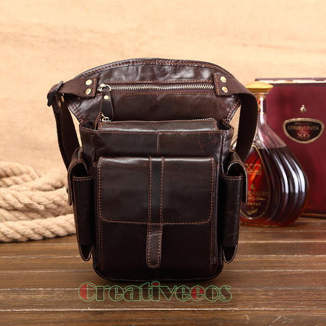 Men's Cowhide Oil Wax Genuine Leather Travel Motorcycle Messenger Shoulder Hip Belt Fanny Pack Waist Thigh Drop Leg Bag