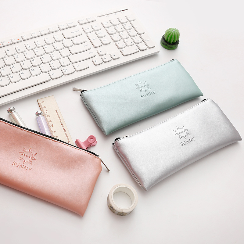 Korean Pencil Bag Simple Style Pencil Case PU Leather Storage Organizer Pen Bags Pouch Pencil Bag School Supply Stationery