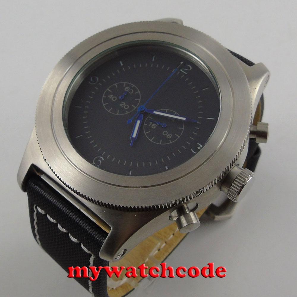 luxury brand big face heavy 52mm parnis black dial big face Full chronograph quartz mens watch