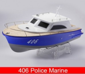 406 Police Marine/ V-shaped Fiberglass Electric Brushless RC Boat with 3650 Motor + 70A ESC 406