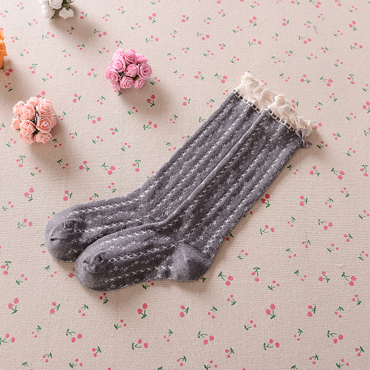 Girls Knee High Socks With Bowknot Kids School Boots Dress Socks Black Purple Gray Uniform Cotton Soft Children Sock 3-9Y