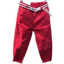 Большие размеры 26-32! летние новые джинсы женские свободные красные шаровары с высокой талией