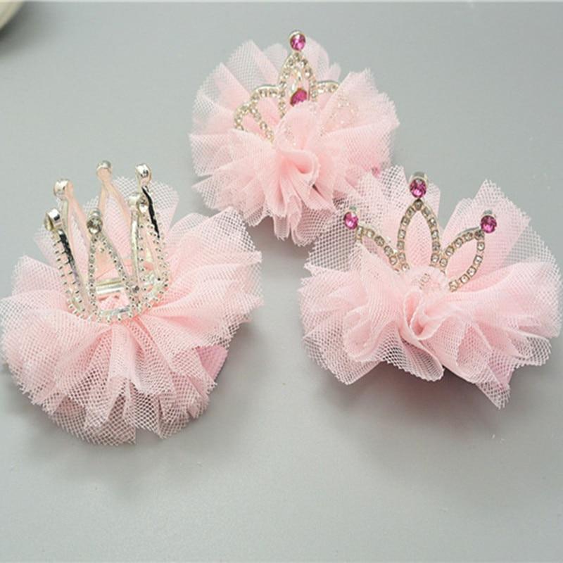 1 PC Fashion Cute Girls Crown Princess Hair Clip Lace Rhineston Shiny Star Headband Hairpins Barrettes Headwear Hair Accessories