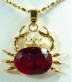 Fast SHIPPINGCharming Red Cubic Zirconia  Crystal Crab Pendant and Necklace