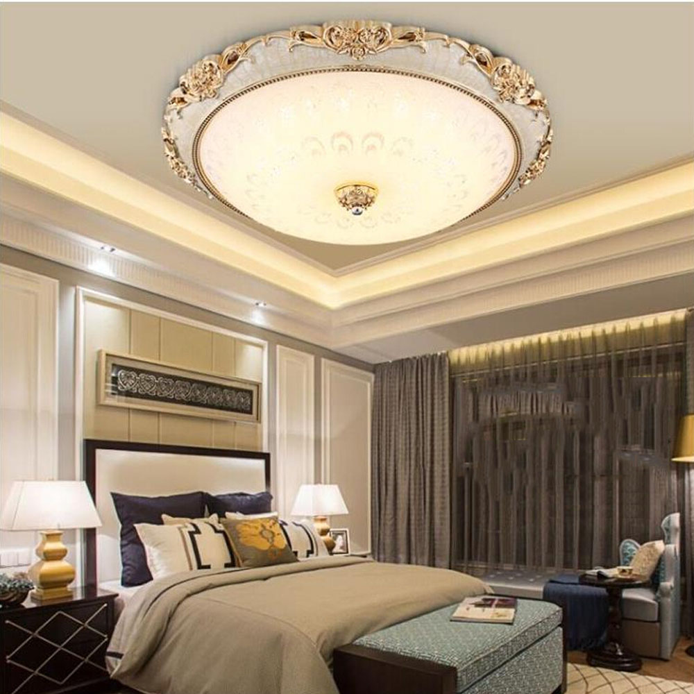 Modern Ceiling Light Led 110V-220V Round Glass Resin Ceiling Lamps Bedroom Kitchen Lighting Gilt Industrial Ceiling Lamp