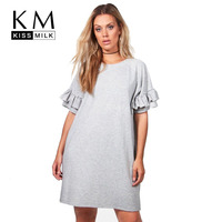 Kissmilk Women Clothing New Fashion Ruffle Sleeve Solid Color Mini Dress Casual Big Size Short Dress