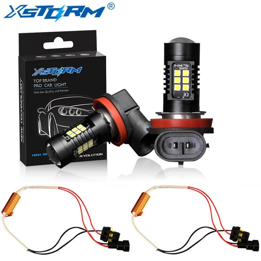 2 pcs H8 H11 Ampoule Led HB4 Led 9006 HB3 9005 Antibrouillards Canbus Aucune Erreur 1200LM 6000 k 12 v Blanc DRL Lampe De Voiture Automatique
