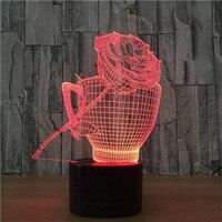 Noche de luz LED rose flores Luna Lámpara de día de san valentín de regalo de Carga USB 3D ilusión Visual Luz de 7 Colores Cambio Touch Control