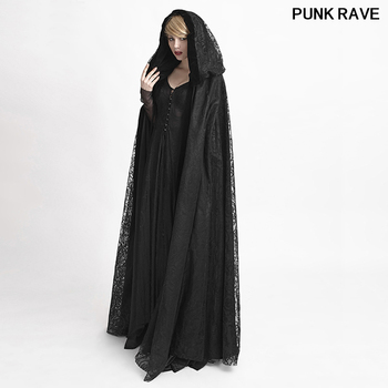 Halloween Vampire Costume Gothic Style Witch women Long Cape Coat Victorian Fashion Lace Hooded Long Cloak Cape PUNK RAVE Y-629