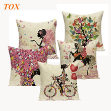 TOX Flower Butterfly Girl Cushion Cover Square 45x45Cm Linen Pillow Case Throw Wedding Decorative Pillowcase Covers