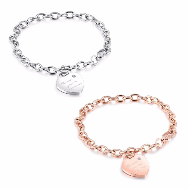 f12dc6f0655fe US $4.99 |Stainless Steel Heart Charm Bracelet with Lobster Clasp  Personalized Signature Jewelry Mother's Gift Free Engraving-in Charm  Bracelets from ...