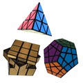 3pcs/Set Shengshou Pyraminx Megaminx Mirror Black Magic Speed Twist Puzzle Bundle Pack Cube PVC&Matte Stickers Cubo Magic Puzzle
