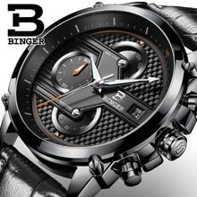 Швейцария швейцарские часы BINGER бренд кварцевые мужские Большой Циферблат Дизайнер Хронограф Водонепроницаемость Наручные Часы B-9018-5