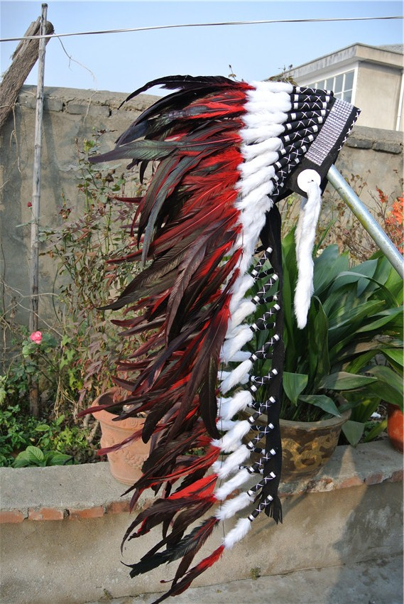 36inch RED feather Headdress headpiece with silver band handmade feather headband-in Feather from Home & Garden    2