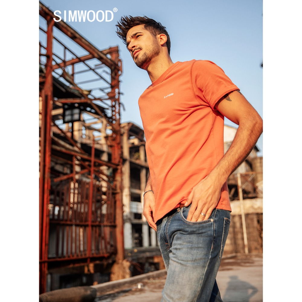 SIMWOOD New 2020 Summer T-Shirt Men 100% Cotton Embroidered Casual T Shirt Basics O-neck High Quality Plus Size Male Tee 190107