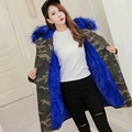2016 New Fashion Women's Camouflage Fur Collar Hooded Middle Long Coat Parkas Outwear Rabbit Fur Lining Winter Jacket Z645
