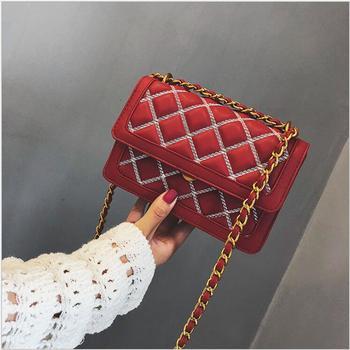 2018 Fashion Woman Big Embroidery Bags Ladies Luxury Handbag Women Plaid Chain Shoulder Bag Large Quilted Females Crossbody Bag.