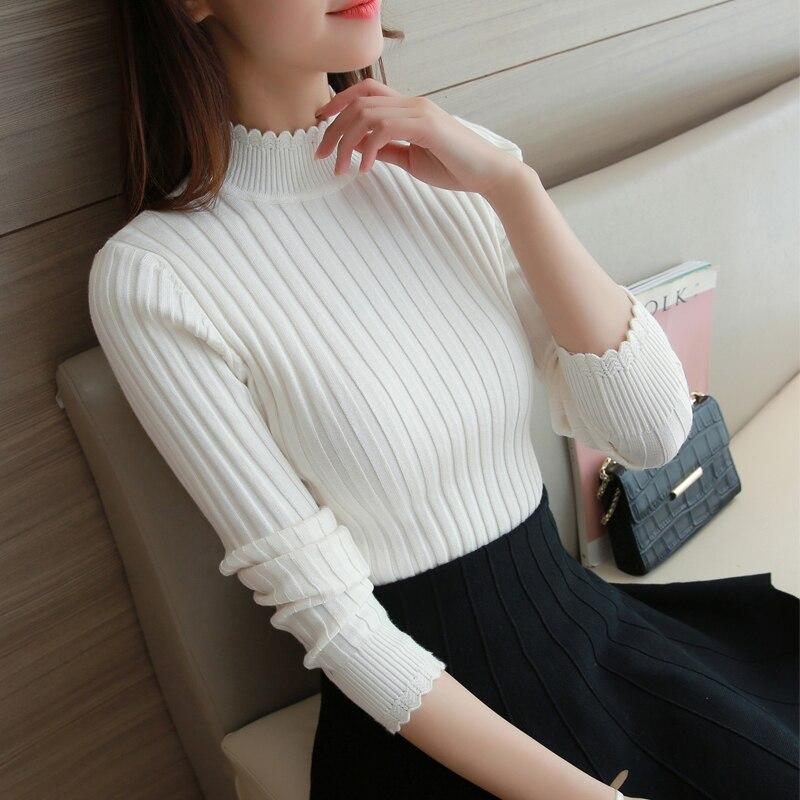 2019 podzim módní krajky napůl korejský svetr tenký dámský rolák dlouhý rukáv svetr zesílené rukávy