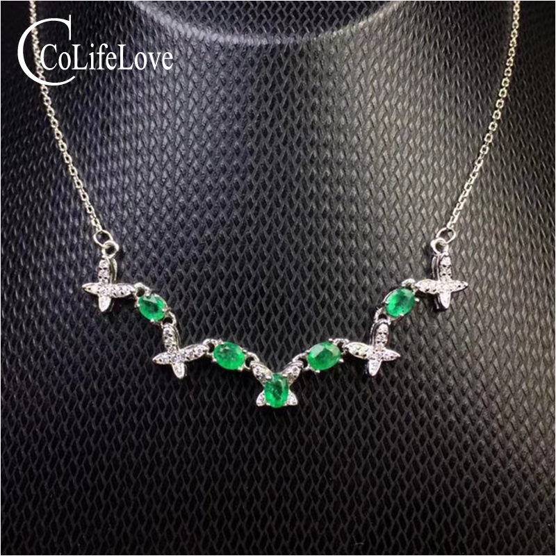 Fashion sterling silver emerald necklace for evening party 3 mm * 4 mm natural emerald necklace 925 silver emerald jewelry fashion emerald bracelet for evening party 8 pcs 3 mm 5 mm natural emerald bracelet 925 sterling silver emerald jewelry