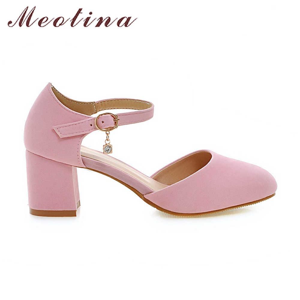 d690e31fa2e Meotina Women Shoes High Heels Buckle Strap Pumps Pink Shoes Round Toe  Thick High Heels Ladies Footwear Black Big Size 10 44 45