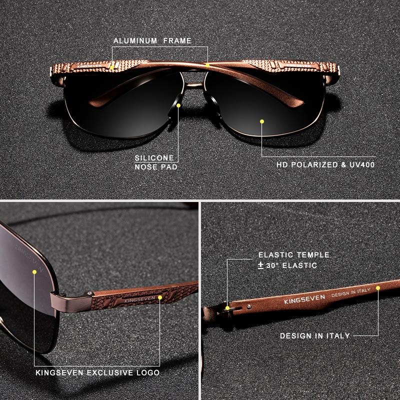 KINGSEVEN Women Men Sunglasses Polarized Mirror Lens Vintage Eyewear Driving Sun glasses Aluminum Temple Gafas de sol Masculino 5