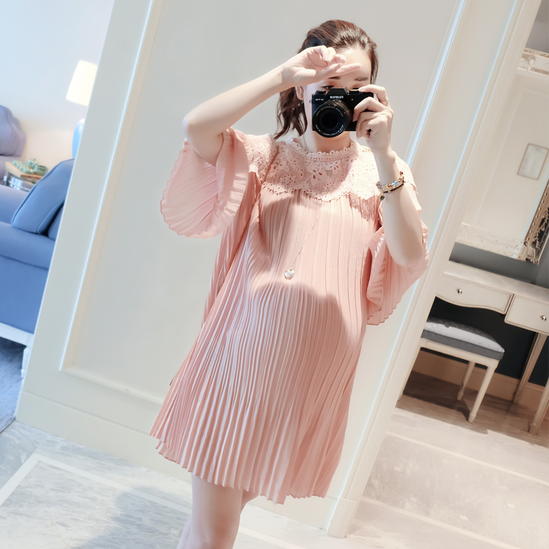 Maternity clothes loose choli lace stitching chiffon pleated skirts long in pregnant women