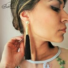 Badu Black Tassel Earring 5 Colors Long Silk Fringes Women Vintage Dangle Drop Earrings Fashion Jewelry Party Friday