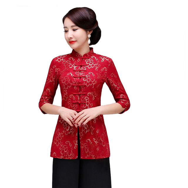 5f82c9e4e5baae Chinese Novelty Flower Women Shirt Slim Mandarin Collar Half Sleeve Blouse  Vintage Lace Button Long Tops Plus Size S-XXXXXL