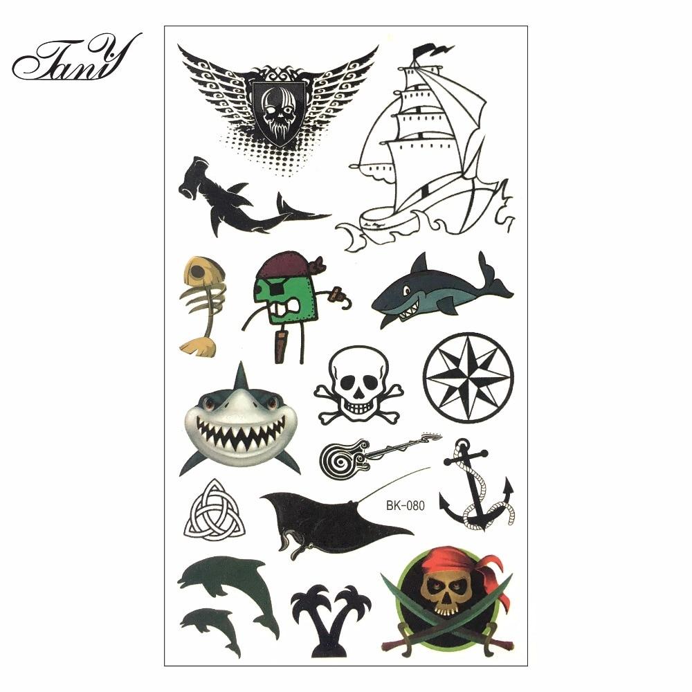 Halloween whimsy pirates shark temporary body art flash for Halloween temporary tattoos